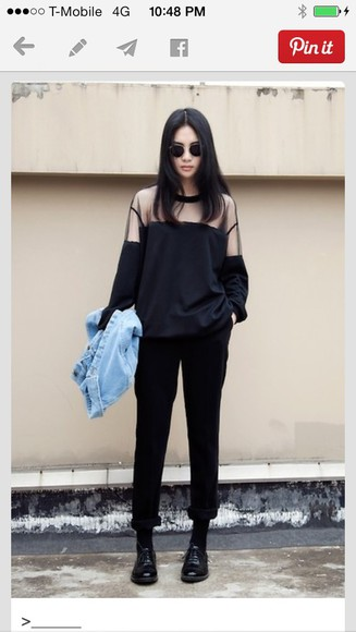 sweater black oversize sheer shoulder shoulder detail