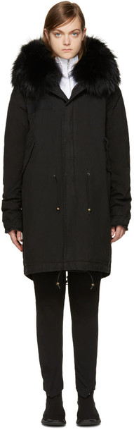 Mr and Mrs Italy parka fur black coat