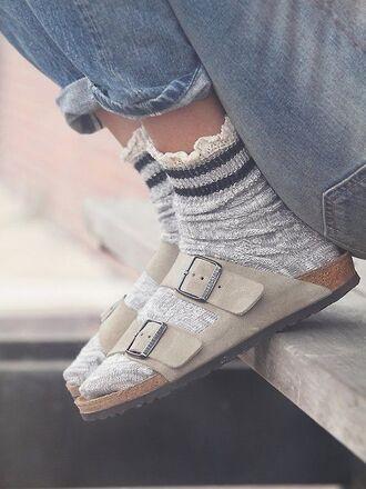 shoes birkenstocks socks frilly frilly socks jeans light jeans grey beige beige shoes stripes