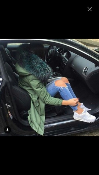 jacket coat green blue parka olive green parka fur fur coat