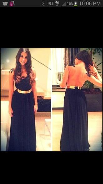 dress little black dress gold long prom dress formal open back