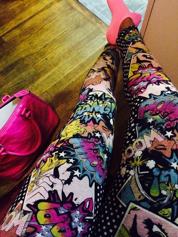 pants bright bright leggings printed leggings retro pow polka dots pink green cartoon hello hello kitty pink socks pink bag comfy comfy chillin neon new york city new york city l.a. l.a. style 80s style 80s style 80s style dope dope shit dope dope dope bag