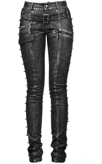 jeans pants goth black skinny spikes