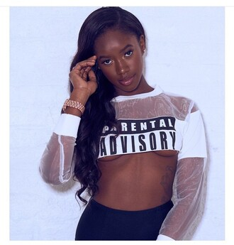 crop tops white top parental advisory explicit content long sleeves summer top make-up tattoo crop mesh top mesh black girls killin it natural makeup look