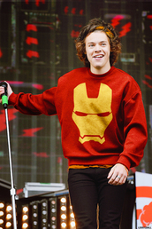 sweater,red,yellow,harry styles,sweatshirt,marvel,iron man,menswear,one direction