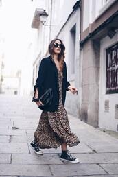 dress,maxi dress,leopard print,chuck taylor all stars,black blazer,handbag,black sunglasses