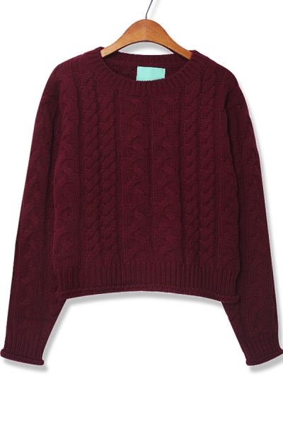 Cable kint Crop  Solid Color Sweater - OASAP.com