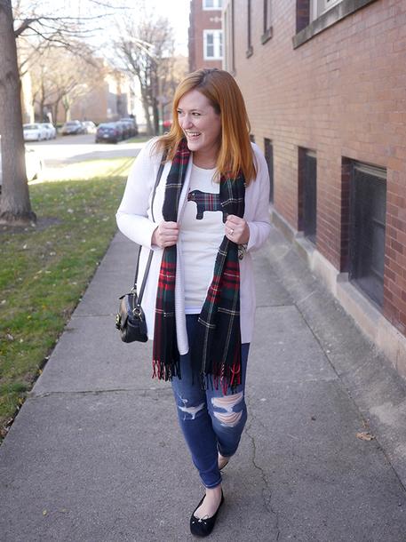 kristinadoestheinternets blogger t-shirt sweater scarf jeans bag jewels ballet flats shoulder bag cardigan winter outfits