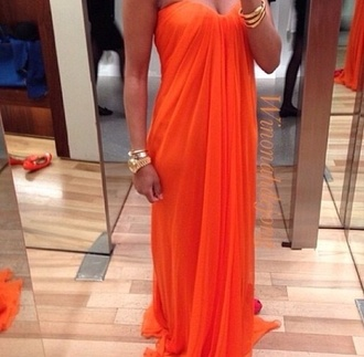 orange dress orange dress cute prom dress