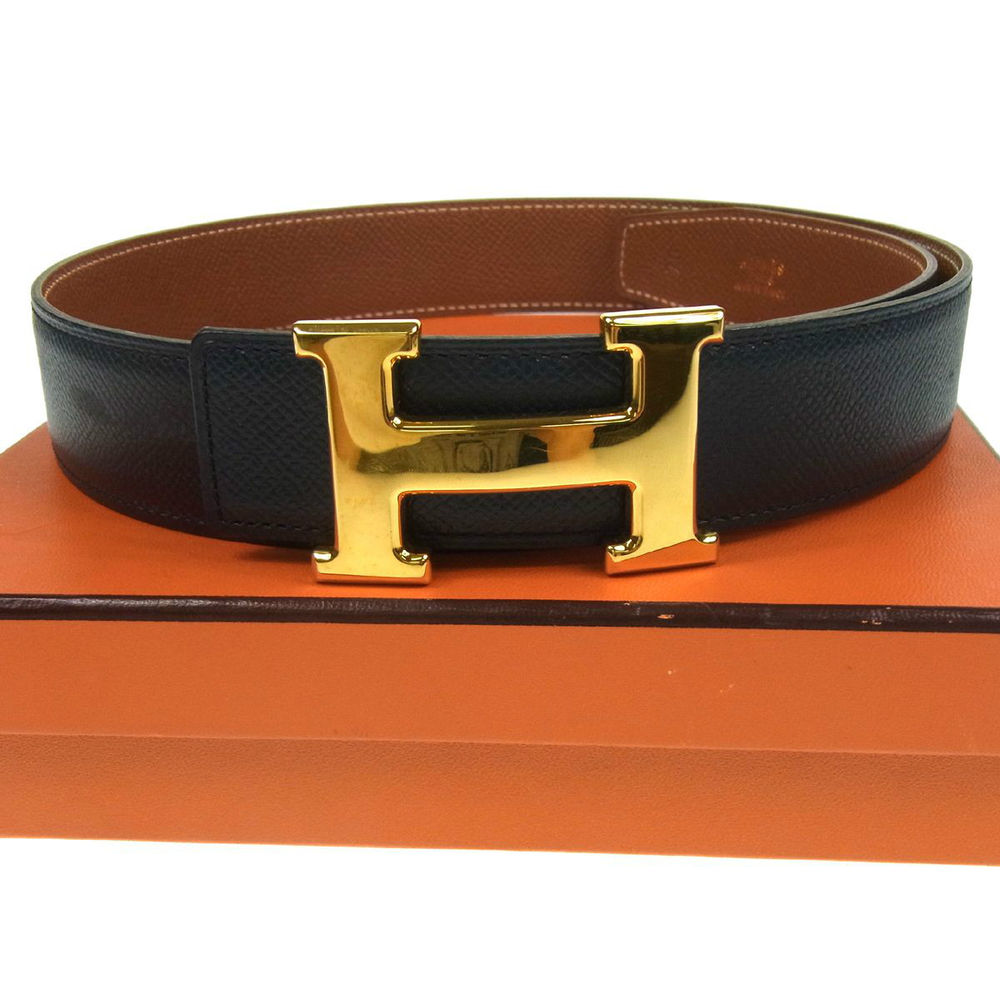 Authentic Hermes Reversible Constance H Buckle Belt Navy Leather Vintage B19597 | eBay