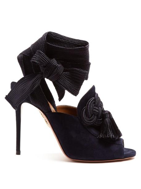 Aquazzura tassel embellished sandals suede navy shoes