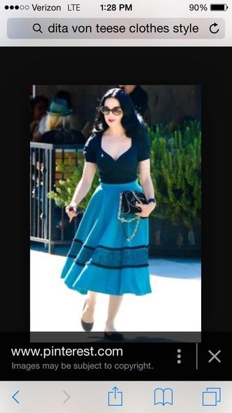 skirt dita von teese blue skirt midi skirt