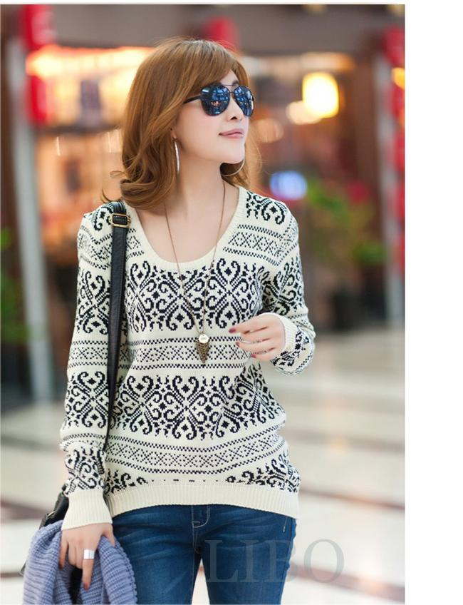Women jumper Pullover Retro Geometric Tribal pattern Knitted Sweater Thick coat