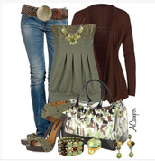 shoes,top,tube top,strapless,beading,empire waist,jeans,belt,cardigan,burgundy,olive green,peep toe,strap heel,high heels,heels,stilettos,bag,purse,earrings,bracelets,necklace,ankle strap,ankle strap heels,clothes,outfit,shirt