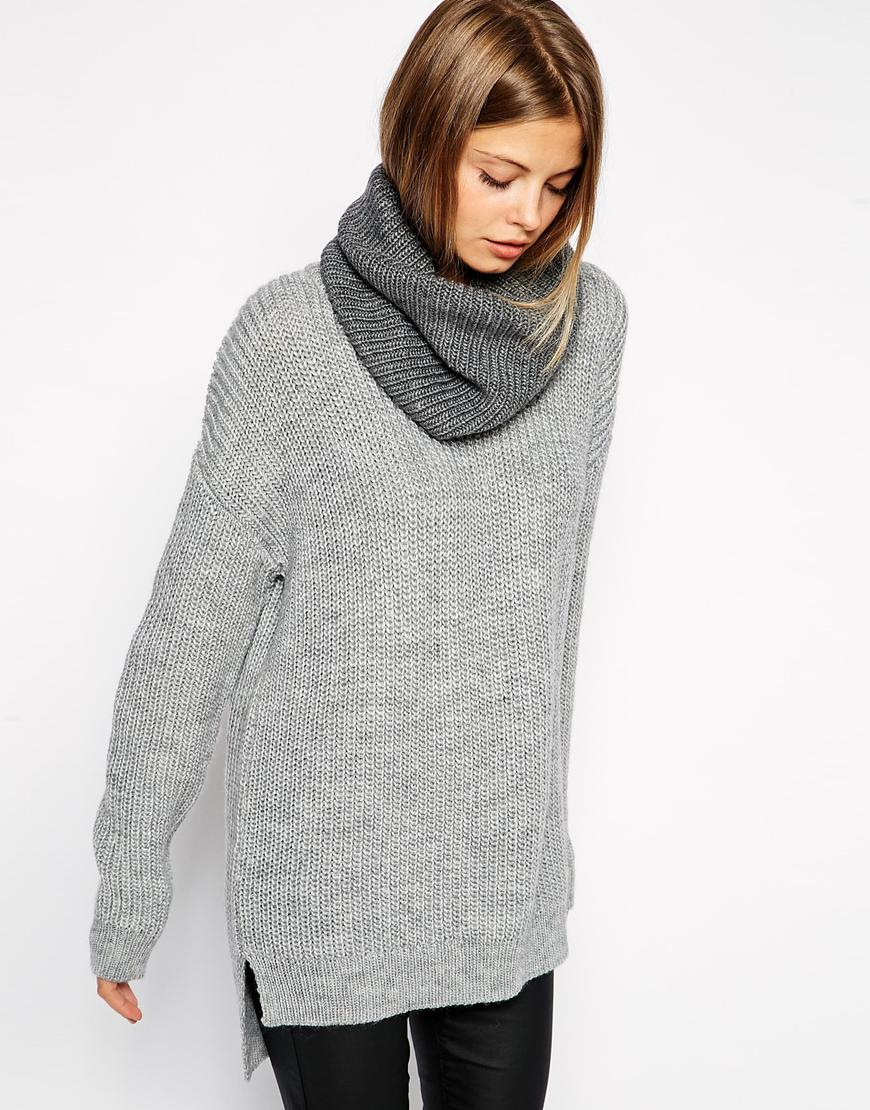 Asos chunky jumper with detachable snood at asos.com