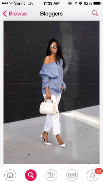 blouse off the shoulder sweater