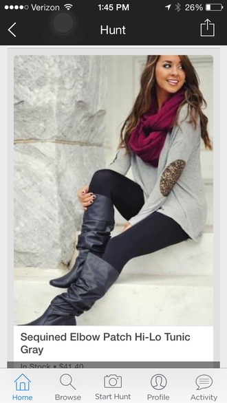 gold sequin elbow pads grey sweater
