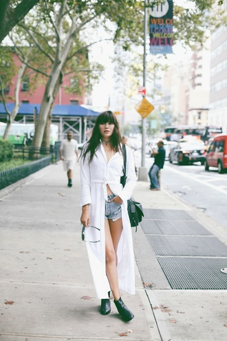 natalie off duty blogger denim shorts fall outfits shirt dress chelsea boots
