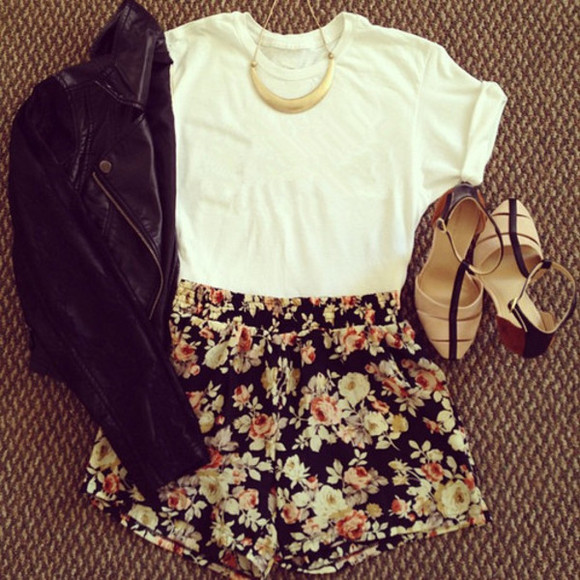 t-shirt floral shorts jacket jewels shoes necklace leather jacket