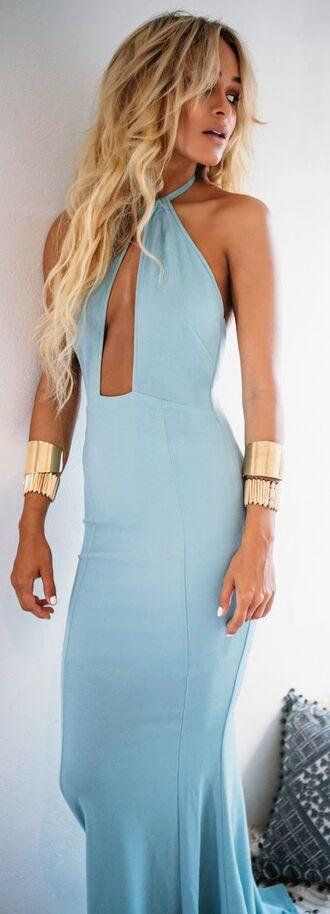 dress baby blue halter dress