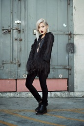 feral creature,blogger,jacket,feathers,fluffy,pastel goth,black