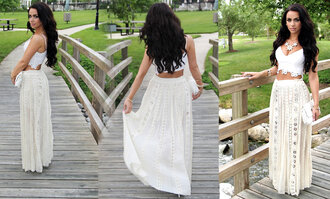 tank top beach white white lace skirt crop tops maxi skirt classy elegance fashion spring trends 2014 trendy skirt