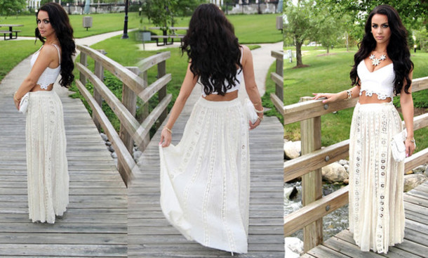 Faux Suede Banded Lace Long Skirt, Maxi Skirt Long Skirt, white ...