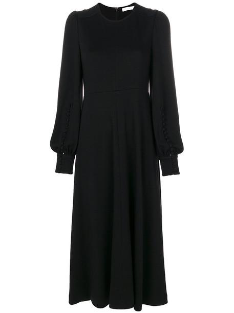 Chloe dress women black silk wool