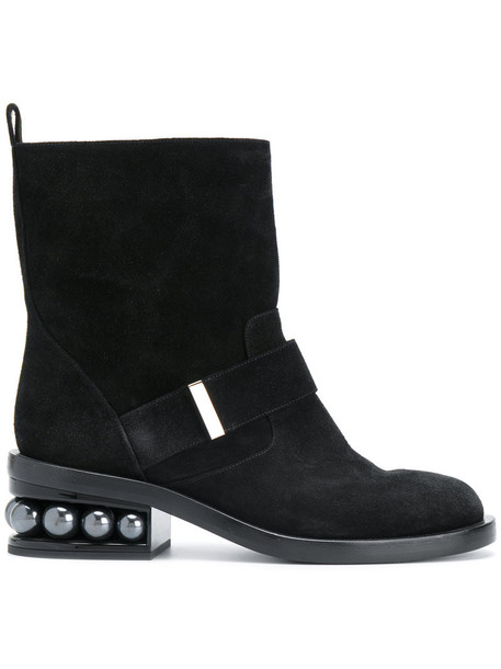 biker boots women pearl leather suede black shoes