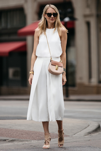 fashionjackson blogger top pants shoes bag sunglasses jewels crossbody bag white top culottes sandals summer outfits