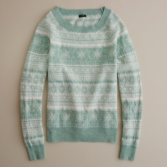 mint white pattern crewneck winter sweater soft
