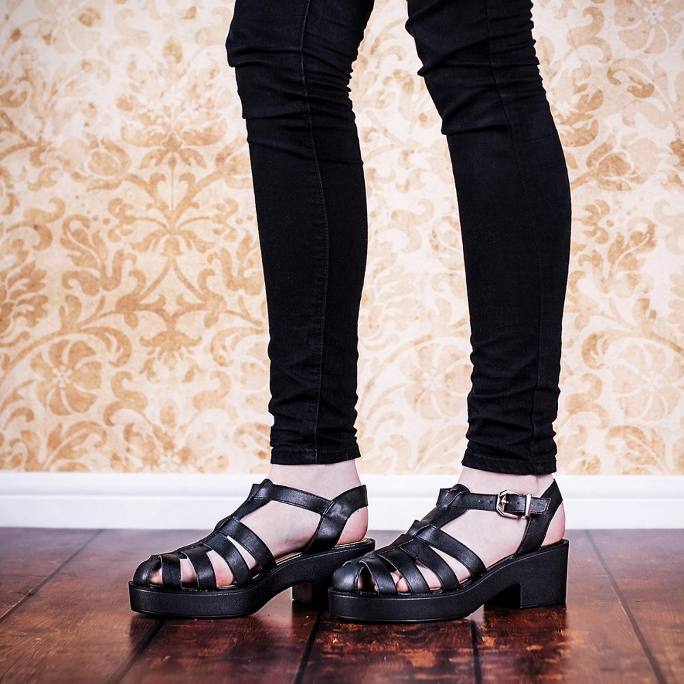 Buy OCEAN Chunky Sole Platform Gladiator Sandal Shoes Black Leather Style Online