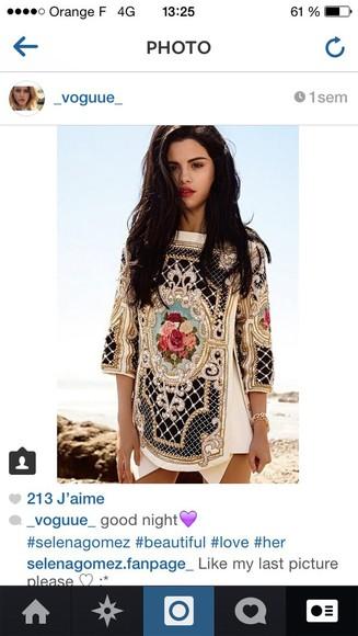 fashion top shirt dress white selena gomez sequins gold skirt