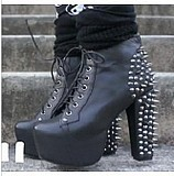 leather shoes Rock model 274 Studded strap high heeled boots waterproof Taiwan 's foreign trade 40 yards jjm456 3 snow boots-in Boots from Shoes on Aliexpress.com