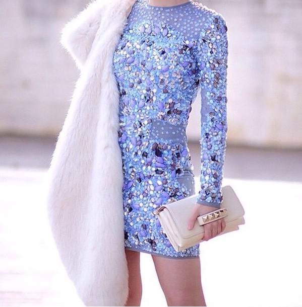 dress light blue light blue dress blue dress strasses sequence dress prom bodycon dress bodycon strass dress coat short dress party dress sequins glitter glitter dress baby blue jewels sparkle crystal gorgeous dress fur coat clutch cream bag