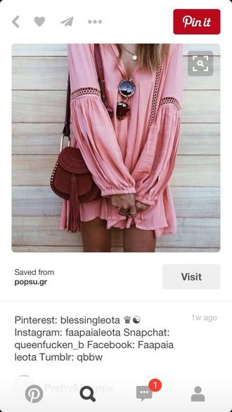 dress coral dress pink dress boho dress long sleeve dress