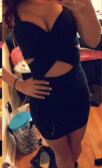 dress cute black sexy dress bodycon dress