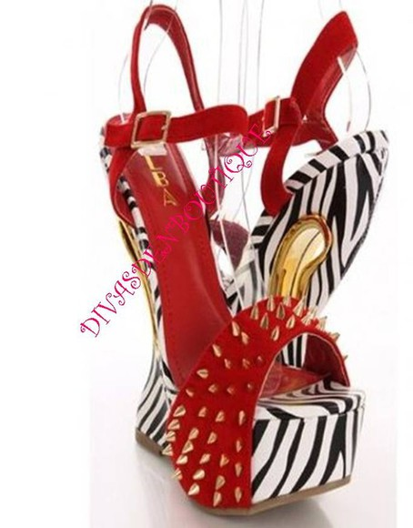 shoes sandal spikes zebra print red wedge heel less shoes high heels