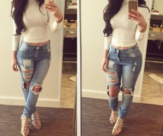 ripped jeans skinny jeans turtleneck blouse