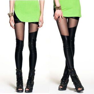 leggings punk rock transparent black sexy simili leather leather cuir