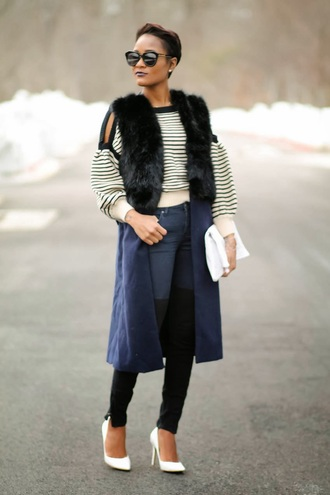the daileigh t-shirt jacket pants bag shoes sunglasses cut-out shoulder sweater striped sweater cropped sweater stripes vest black vest fur vest black sunglasses white bag white pumps pointed toe pumps high heel pumps