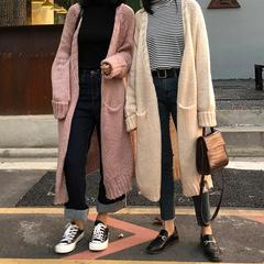 PINK AND MILK THICK KNIT LONG WARM KOREAN CARDIGANS