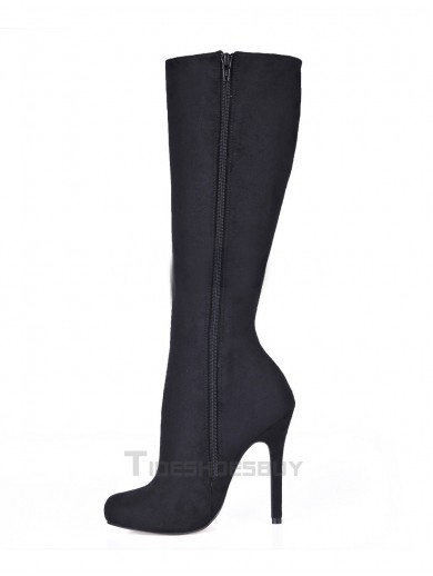 Black Stiletto Heel Knee Length Stretch Faux Suede Womens Boots - Knee-High Boots - Boots
