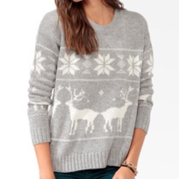 off Forever 21 Sweaters - Gray and White Fair Isle Christmas ...