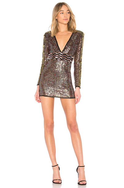 X BY NBD dress metallic copper