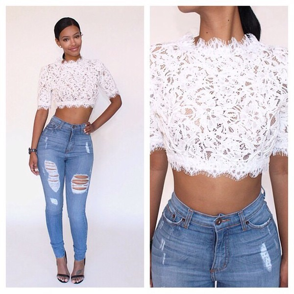 top lace top jeans