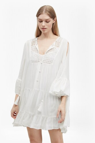 dress lace dress white lace dress gypsy dress white dress button up bell sleeves