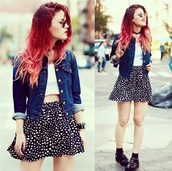 skirt,luanna perez,socks,denim jacket,grunge,soft grunge,girly,crop tops,white crop tops,red hair,shoes,top,jacket,le happy,jellies