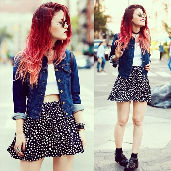 skirt luanna perez socks denim jacket grunge soft grunge girly crop tops white crop tops red hair shoes top jacket le happy jellies