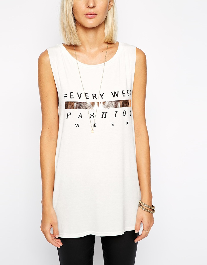 River Island Every Week Is Fashion Week Tank Top at asos.com